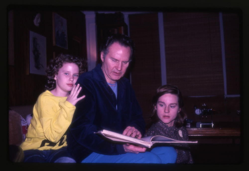 Romulus Linney with daughters, Susan and Laura