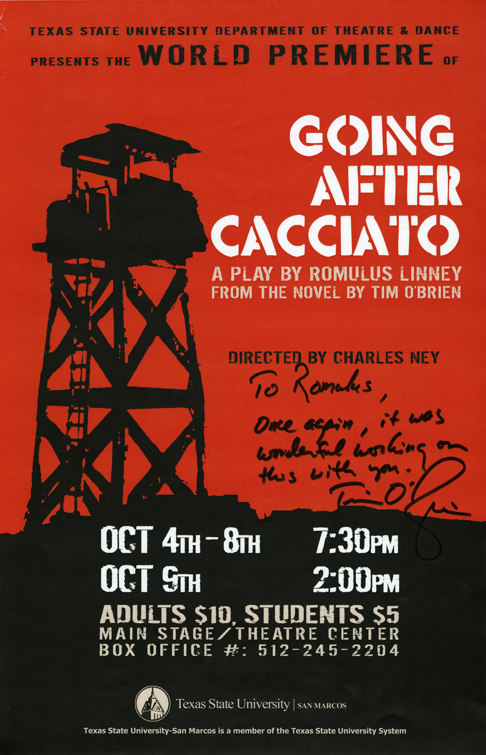 <em>Going After Cacciato</em> Texas State University production poster