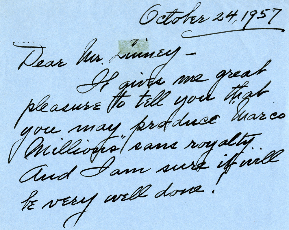 Letter from Carlotta O'Neill to Romulus Linney, October 24, 1957