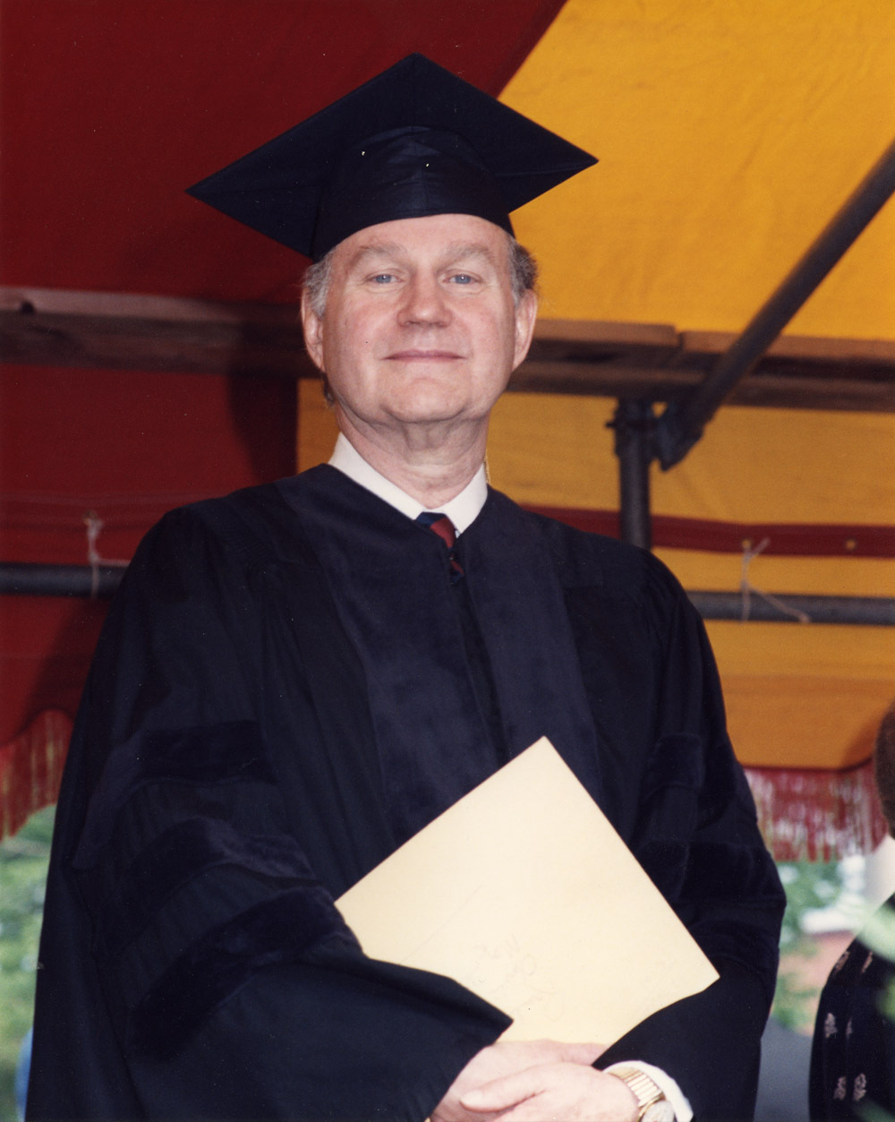 Romulus Linney receiving an honorary degree from Oberlin College