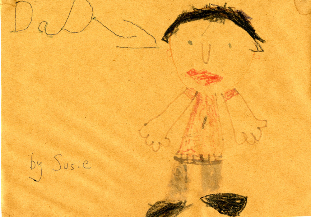 """Sketch of Dad"" drawn by Susan Linney"