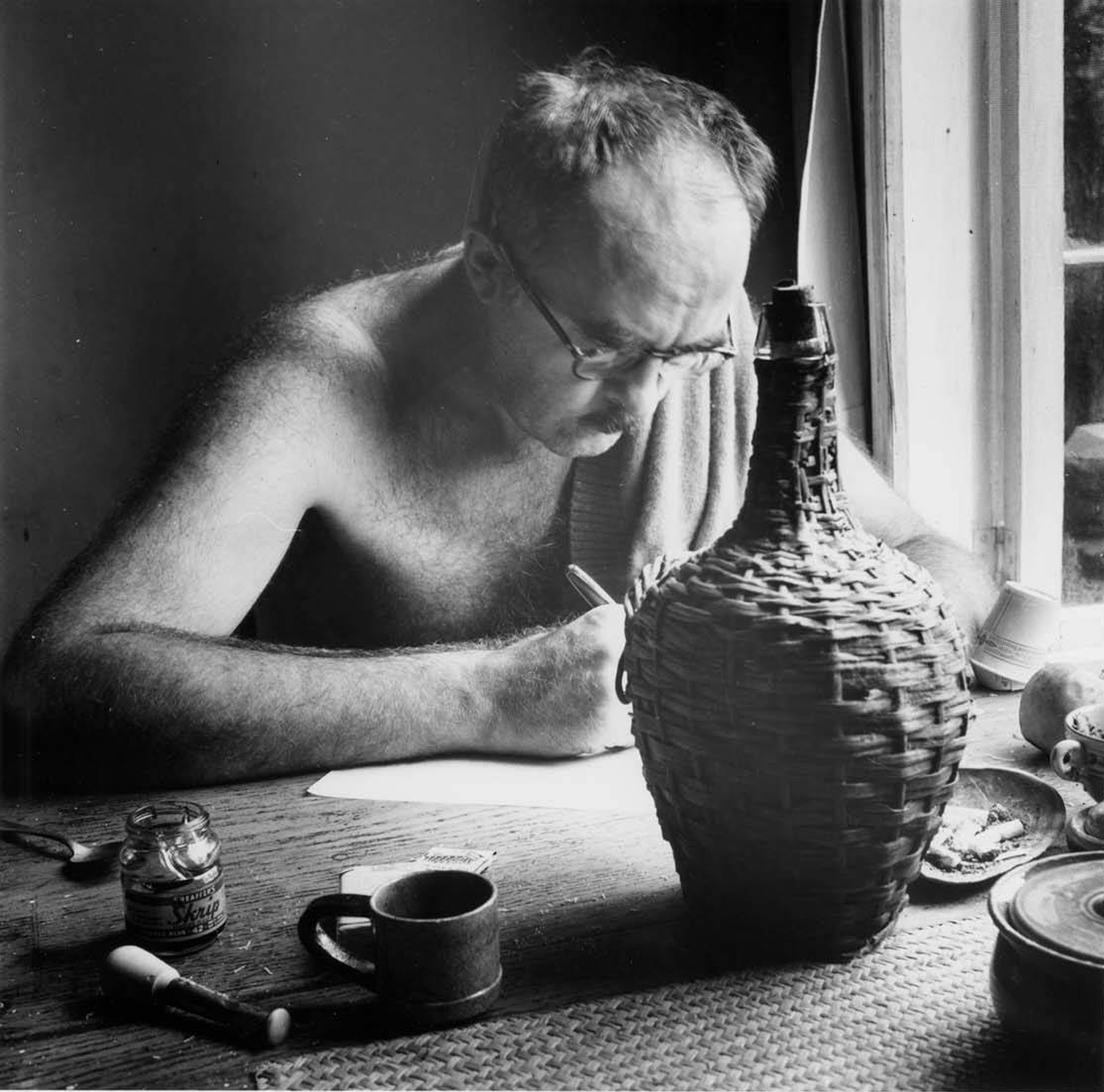 Charles Olsen writing at Black Mountain College, ca. 1951