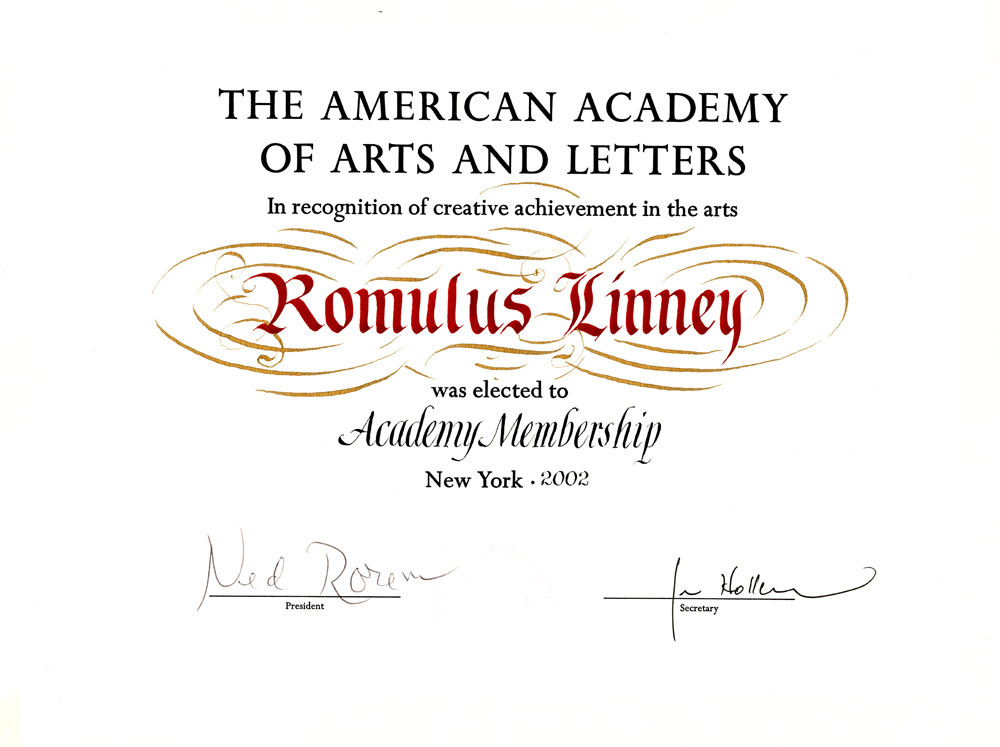 Romulus Linney's membership certificate in The American Academy of Arts and Letters