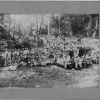 Large Group of People in Wooded Setting - Picnic, Reunion, Church Event