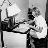 Photo, Barbara Sieck, Black Mountain College Student, in her student study, ca. 1939-1942