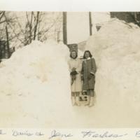 Carol Davis and Jane (Jene?) Farbes in Snow