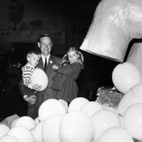 Representative Broyhill and children with balloons
