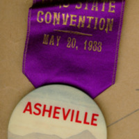 Asheville, NC Convention badge for Leo Finkelstein, 1933
