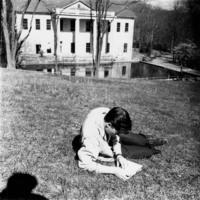 Photo, Student reading on the Blue Ridge campus, ca. 1933-1941
