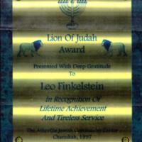 Plaque, Lion of Judah Award Presented to Leo Finkelstein, 1997