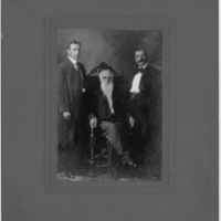 Portrait of Two Men with Elderly Man - Handwritten: Stella Copenhaver's uncle once owned the Lovelace Place. Henderson and his two sons, from Mattie Hart sale 10-6-1979 (A.P. Snider, Marion, Va.)
