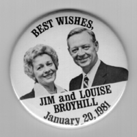 """""""Best Wishes, Jim and Louise Broyhill, January 20, 1981"""" Button"""