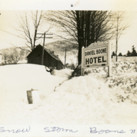 Snow Storm Boone, N.C., with Daniel Boone Hotel sign