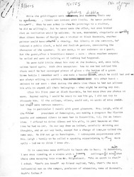 """Manuscript notes from unpublished memoir about Black Mountain College by John Rice, titled """"Albers"""""""