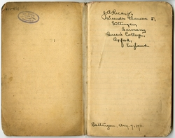 First Page of John Andrew Rice's Memo Book at Queen's College, August 1911