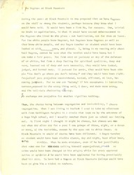 """Notes, """"No Negroes at Black Mountain,"""" by John Andrew Rice, no date"""