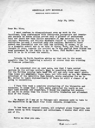 Letter, Bob Wunsch to John Rice, 1933