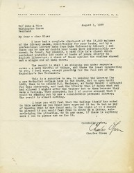 Letter, Charles Olson to [John Andrew] Rice, August 1, 1957