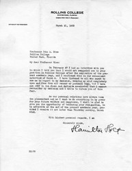 Letter, Hamilton Holt to John Andrew Rice, 1933