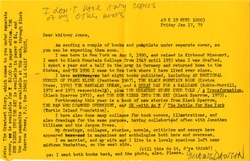 Letter, Fielding Dawson to Whitney Jones, January 17, 1975