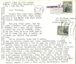 Postcard, FD [Fielding Dawson] to [F.] Whitney [Jones], May 26, 1978