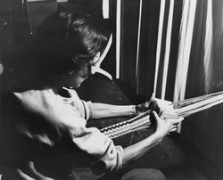 Photo, Anni Albers card weaving at Black Mountain College, ca. 1933-1949