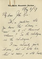 Letter, Charles Olson to John Rice, May 8, 1957