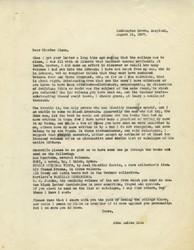 Letter, John Andrew Rice to Charles Olson, August 21, 1957