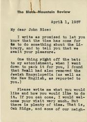 Letter, Charles Olson to John Rice, April 1, 1957