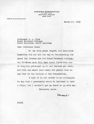 Letter, Carnegie Corporation of New York to John Rice, 1934