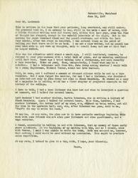 Letter, [John Andrew Rice] to Mr. Lockwood, June 12, 1967