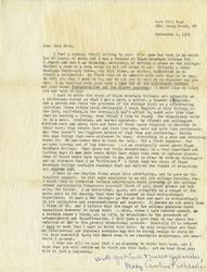 Letter, Mary Caroline Richards to John Rice, September 6, 1961